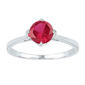Sterling Silver Womens Round Lab-Created Ruby Solitaire Ring 1.00 Cttw