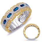 S. Kashi  & Sons Yellow & White Gold Sapphire Ring
