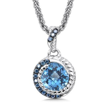Sterling silver, blue topaz and blue diamond pendant