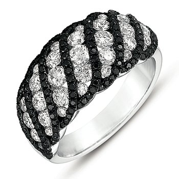 White Gold Black & White Diamond Ring