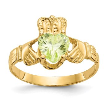 14k August CZ Birthstone Claddagh Ring