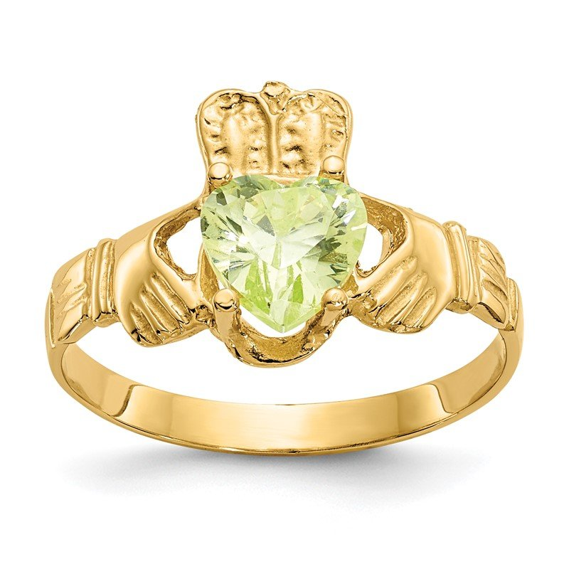 Quality Gold 14k August CZ Birthstone Claddagh Ring