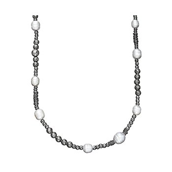 "Honora Sterling Silver 9.5-10mm Gray Ringed Freshwater Cultured Pearl Rhodium Bead 36"" Necklace with Extender"