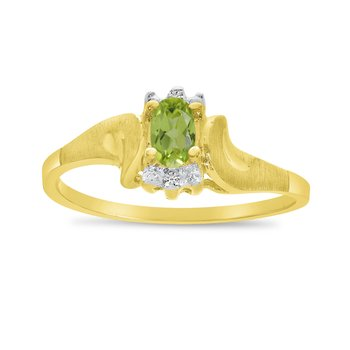 14k Yellow Gold Oval Peridot And Diamond Satin Finish Ring