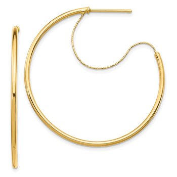 14K 1.5x35mm Polished with D/C wire Hoop Earrings