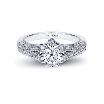 Kirk Kara 18K White Gold Halo Engagement Ring
