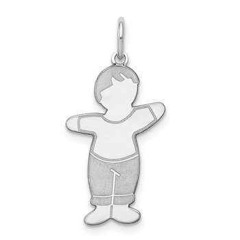 Sterling Silver Rhodium-plated Momma's Boy Cuddle Charm