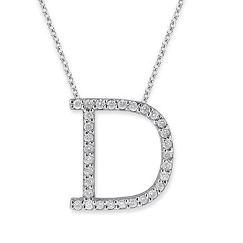 "Diamond All Star Initial ""D"" Necklace in 14K White Gold with 31 diamonds weighing .35ct tw."