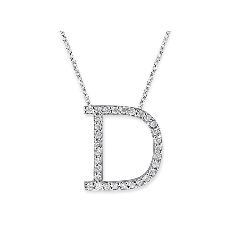 "KC Designs Diamond All Star Initial ""D"" Necklace in 14K White Gold with 31 diamonds weighing .35ct tw."