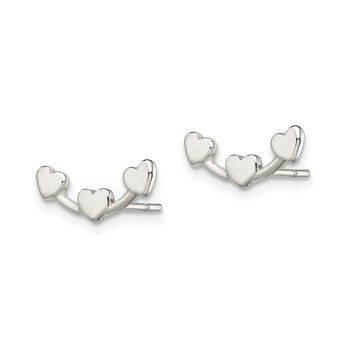 Sterling Silver Polished 3-Heart Post Earrings