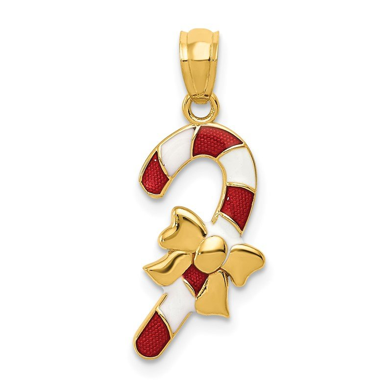 Quality Gold 14k Enameled Candy Cane Pendant