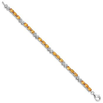 Sterling Silver Rhodium-plated Citrine Bracelet