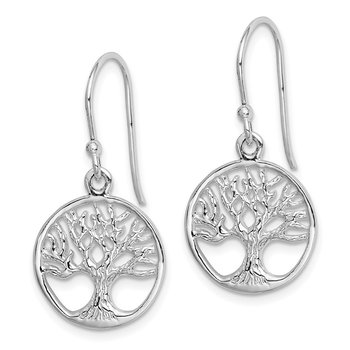 Sterling Silver Rhodium Plated Tree Dangle Earrings