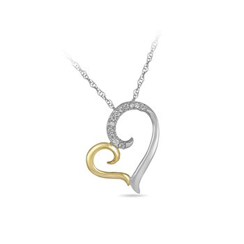 925 SS & Diamond Two Tone Gold Plated Heart Pendant