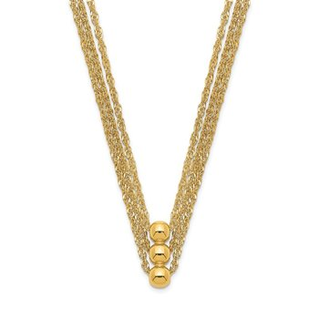 14K 3 Strand Beaded Necklace