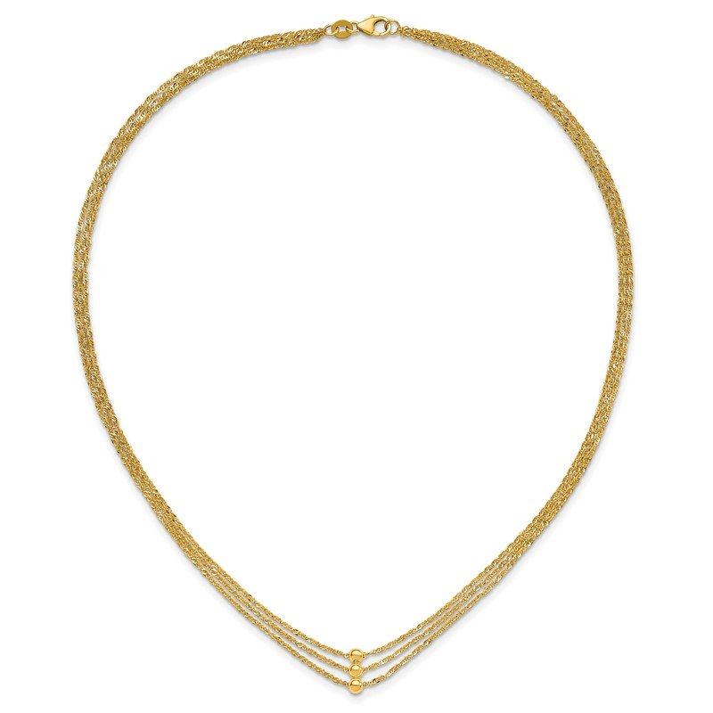 Quality Gold 14K 3 Strand Beaded Necklace