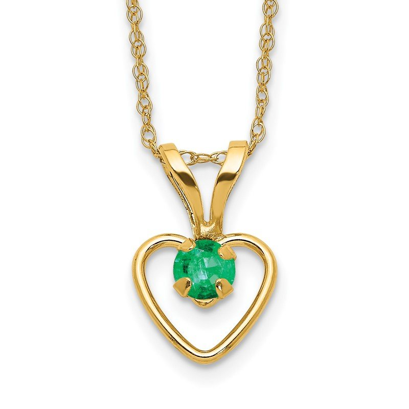 Quality Gold 14k Madi K 3mm Emerald Heart Birthstone Necklace