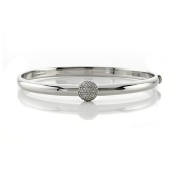 White Gold Bangle Bracelet with Round Pave Diamond Station