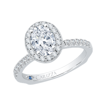 18K White Gold Oval Diamond Halo Engagement Ring with Euro Shank (Semi-Mount)