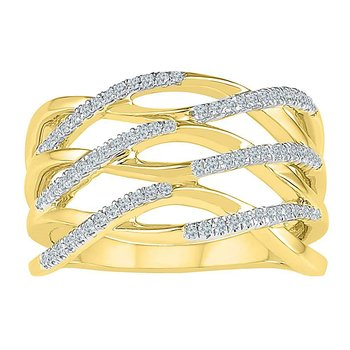 10kt Yellow Gold Womens Round Diamond Crossover Strand Band Ring 1/4 Cttw