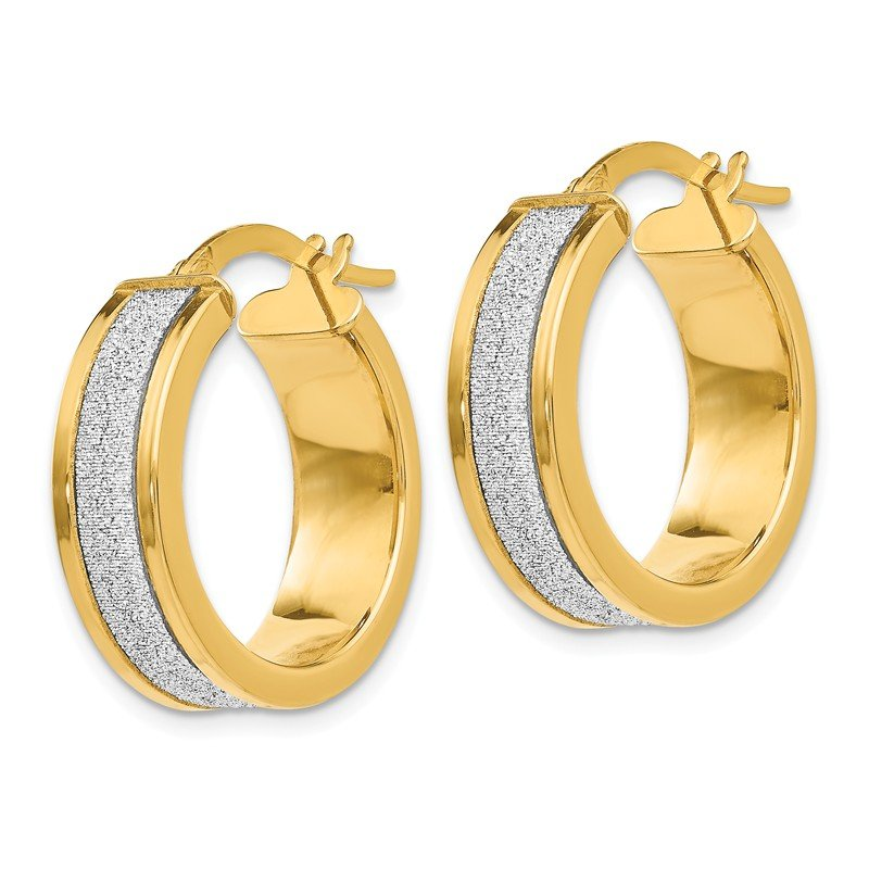 Leslie's Leslie's 14K Fancy Glimmer Infused Hoop Earrings