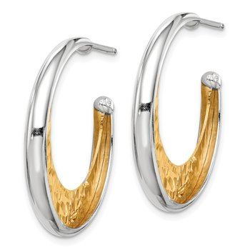 Sterling Silver RH and Gold-plated 28x3.5mm J-Hoop Post Earrings