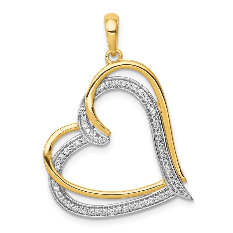 Quality Gold 14k and Rhodium 1/6ct. Diamond Double Heart Pendant