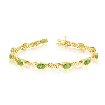 10K Yellow Gold Oval Peridot and Diamond Bracelet