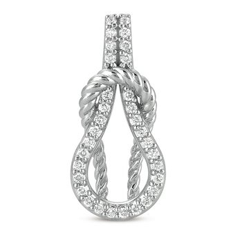 White Gold Rope Love Knot Charm