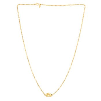 14K Gold Polished Puffed Love Knot Necklace