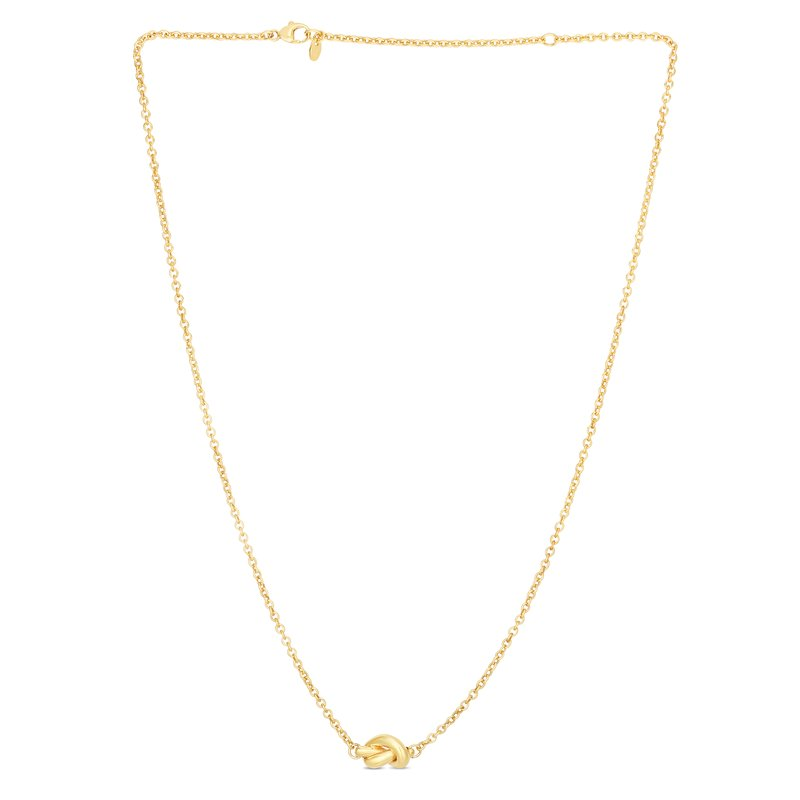 Royal Chain 14K Gold Polished Puffed Love Knot Necklace