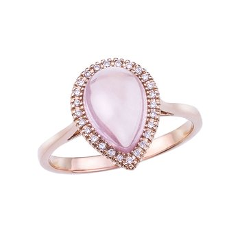 14k Rose Gold Pear Rose Quartz Cab and Diamond Ring