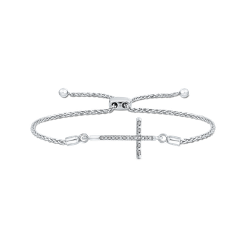 .04 ct Sterling Silver Diamond Bolo Bracelet