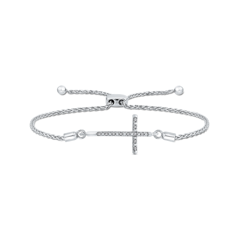 Essentials .04 ct Sterling Silver Diamond Bolo Bracelet