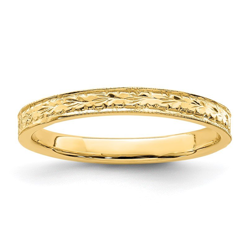 Quality Gold 14K Polished Floral Band