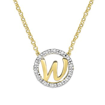 "Gold and Diamond Mini Halo ""W"" Initial Necklace"