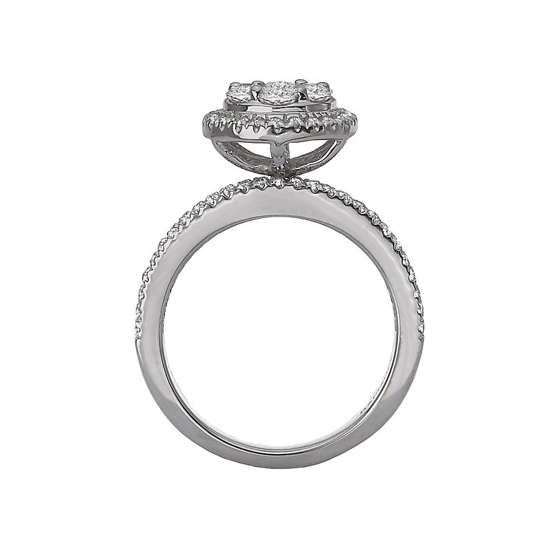Radiance Split Shank Diamond Cluster Ring