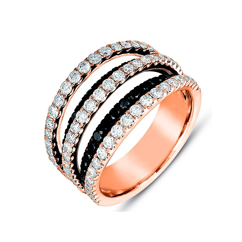 S. Kashi  & Sons Rose Gold Black & White Diamond Ring