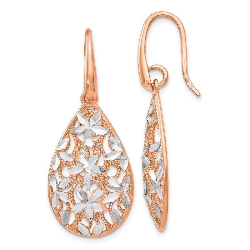 Leslie's Leslie's Sterling Silver Rose Gold-toned Polished Textured Earrings