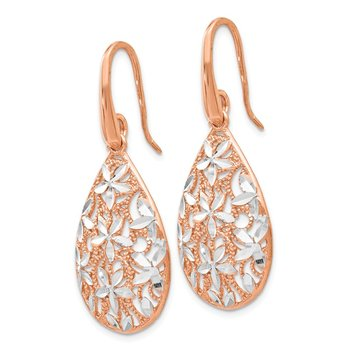 Leslie's Sterling Silver Rose Gold-toned Polished Textured Earrings
