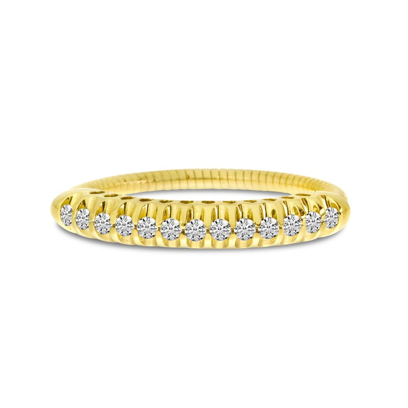 Color Merchants 14K Yellow Gold Stretch Diamond Band Comfort Ring (.25 ct) Shared Prong Setting