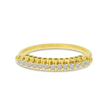 14K Yellow Gold Stretch Diamond Band Comfort Ring (.25 ct) Shared Prong Setting