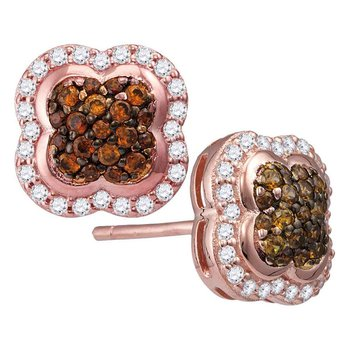 10kt Rose Gold Womens Round Cognac-brown Color Enhanced Diamond Quaterfoil Cluster Stud Earrings 1/2 Cttw