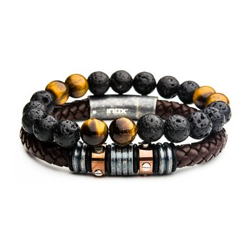 Lava Bead And Station Leather Stackable Bracelets