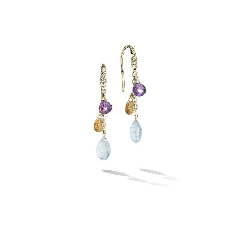 Marco Bicego Paradise Collection 18K Yellow Gold Diamond and  Mixed Gemstone Short Drop Earrings