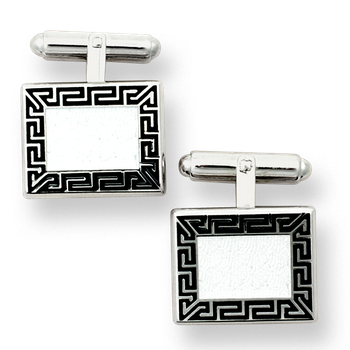 Sterling Silver Greek Key T-Bar Cufflinks-Black