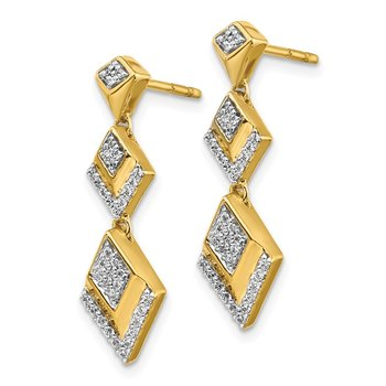 14k Diamond Fancy Post Dangle Earrings