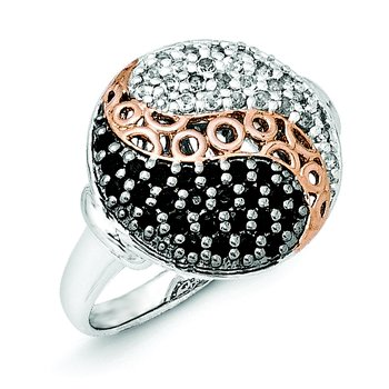 Sterling Silver & Rose Gold-plated Blk Rhodium White Topaz Onyx Ring