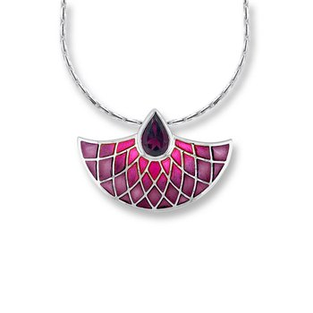 Pink Art Deco Fan Necklace.Sterling Silver-Rhodolite