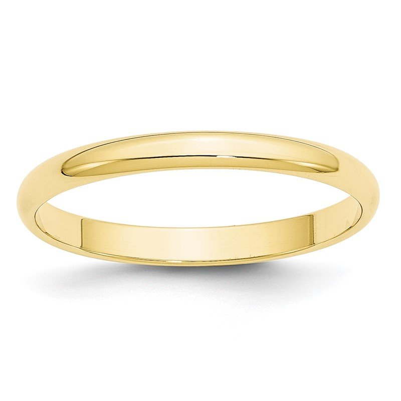 Quality Gold 10KY 2.5mm LTW Half Round Band Size 10